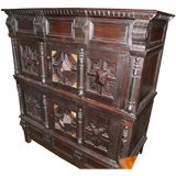 Jacobean Oak and Mother of Pearl Cabinet