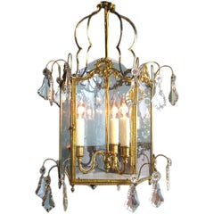 French Gilt Bronze Lantern with Crystals