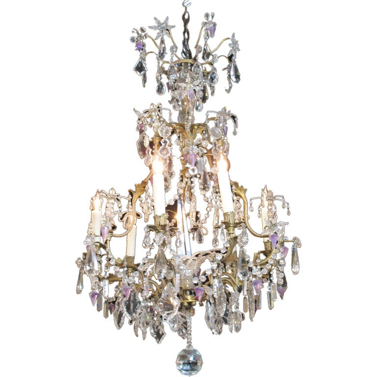 French Crystal Chandelier with Amethyst Drops For Sale