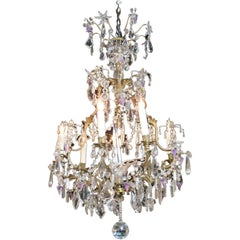 French Crystal Chandelier with Amethyst Drops