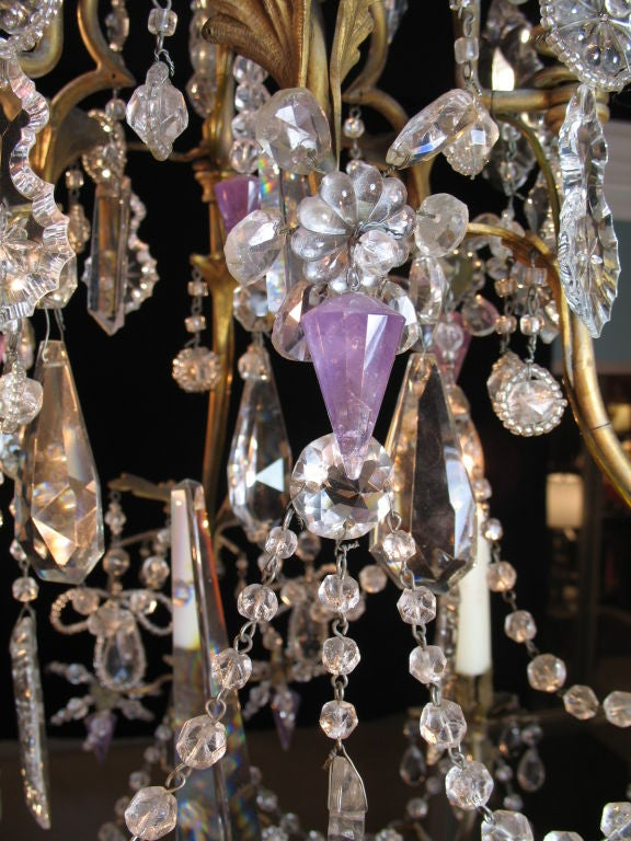 French Crystal Chandelier with Amethyst Drops In Good Condition For Sale In Pembroke, MA