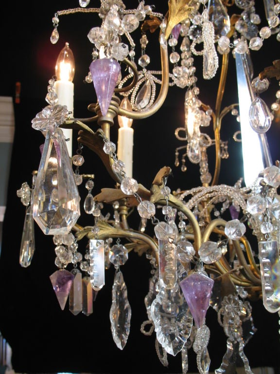 Louis XV French Crystal Chandelier with Amethyst Drops For Sale