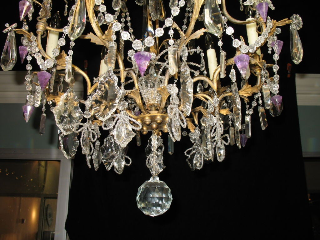19th Century French Crystal Chandelier with Amethyst Drops For Sale