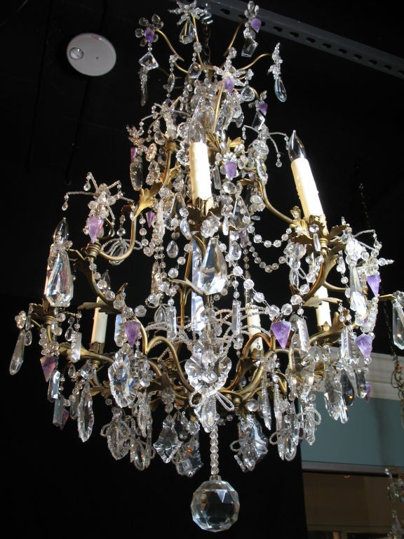 French Crystal Chandelier with Amethyst Drops For Sale 1