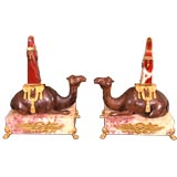 Pair of Bronze Camels with Obelisks