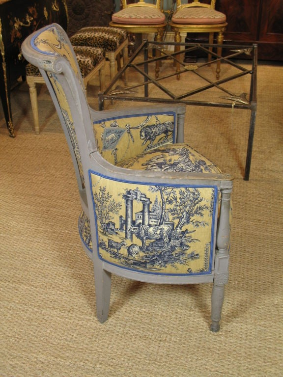 Carved French Directoire Period Bergere For Sale