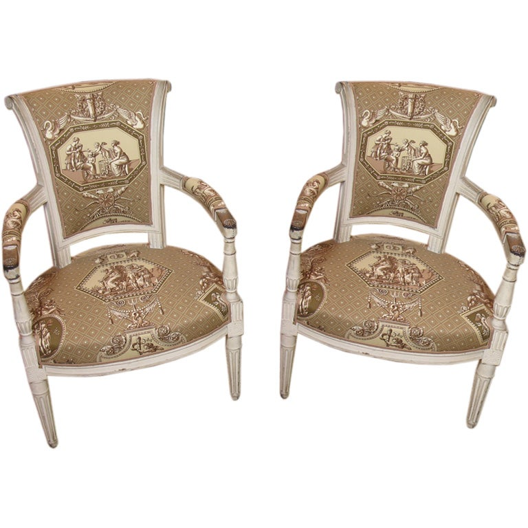 A Pair Of Period French Chairs With Missoni Fabric At 1stdibs: Pair Of French Directoire Period Fauteuils At 1stdibs