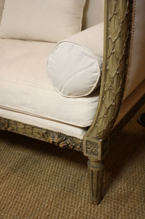 Wood French Highly-Carved Louis XVI Style Sofa For Sale