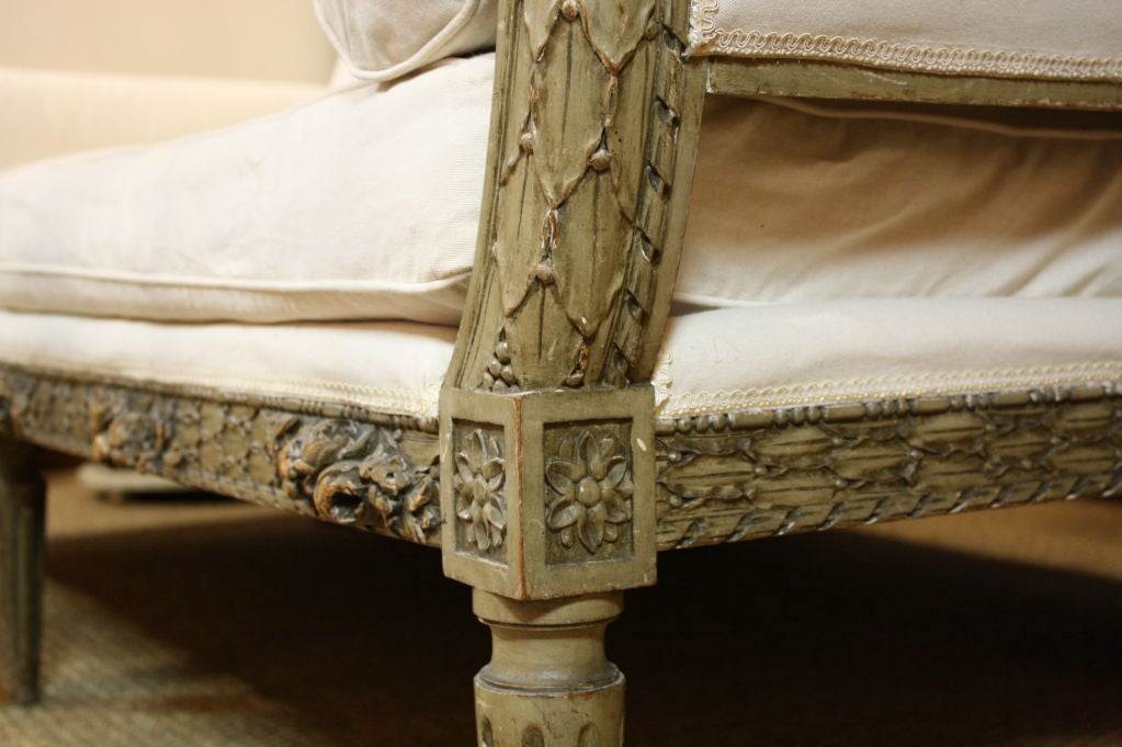 French Highly-Carved Louis XVI Style Sofa For Sale 3