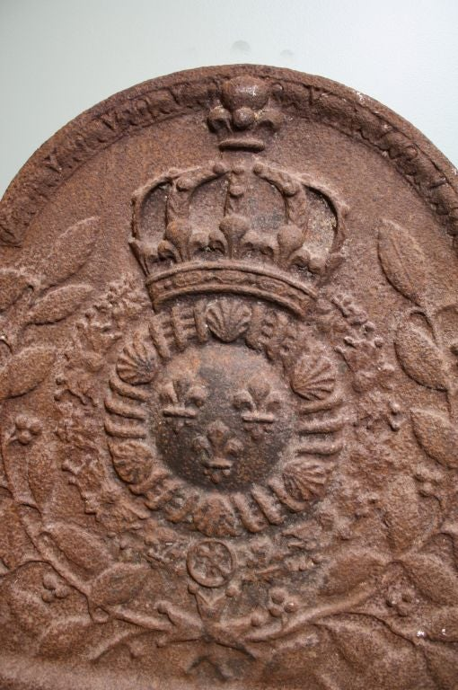 Louis XVI French Cast Iron Fireback For Sale