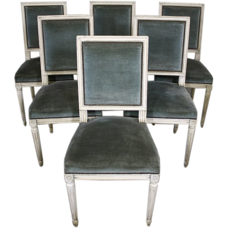 Set Of Six Louis XVI Style Painted Dining Chairs At 1stdibs