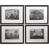 Set of Twelve Framed Engravings of Roman Fountains