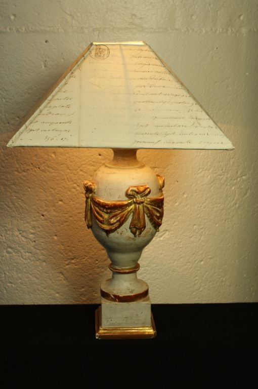 French 19th Century Finial Lamp With Letter Shade For Sale