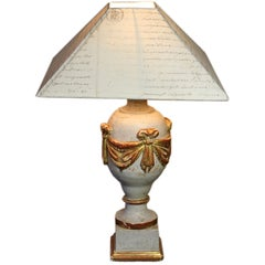 French 19th Century Finial Lamp with Letter Shade
