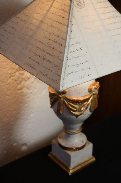 French 19th Century Finial Lamp with Letter Shade In Good Condition For Sale In Charleston, SC