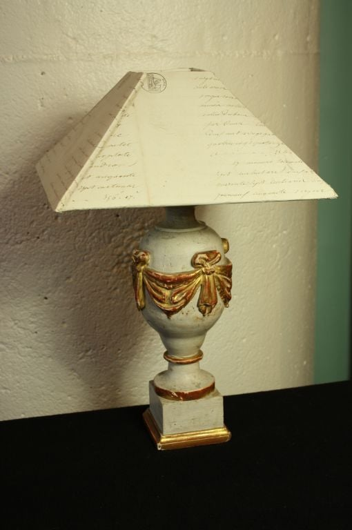 Neoclassical French 19th Century Finial Lamp with Letter Shade For Sale