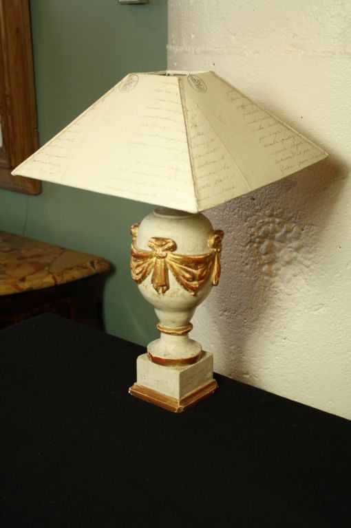 Painted French 19th Century Finial Lamp with Letter Shade For Sale