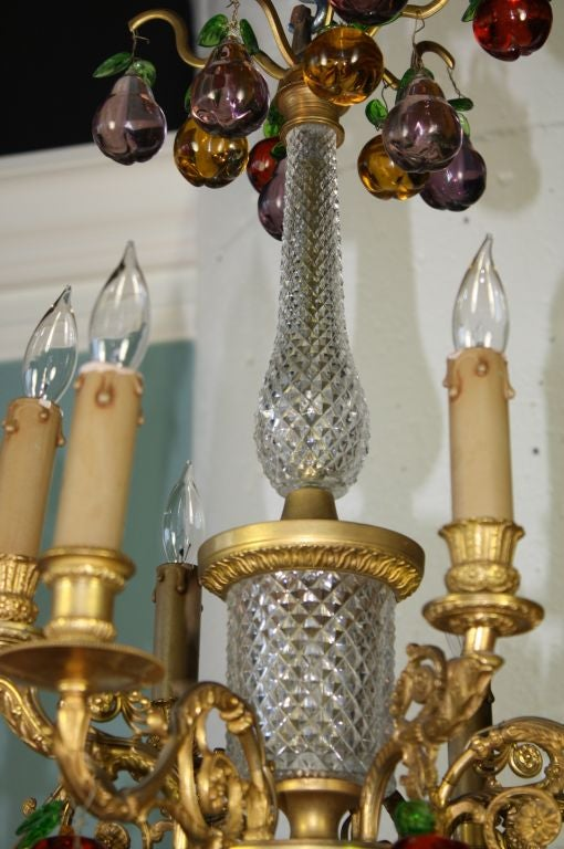 French Gilt Bronze and Crystal Chandelier with Colored Fruit For Sale 3