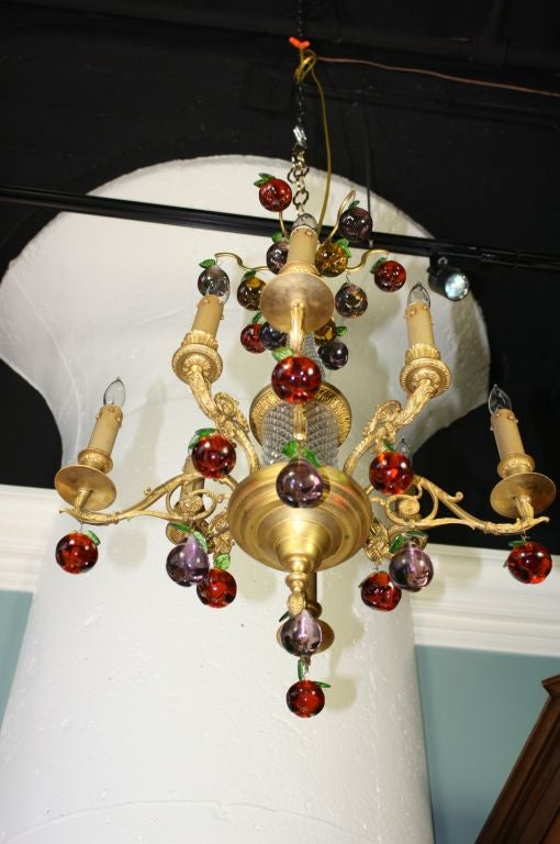 French Gilt Bronze and Crystal Chandelier with Colored Fruit For Sale 4