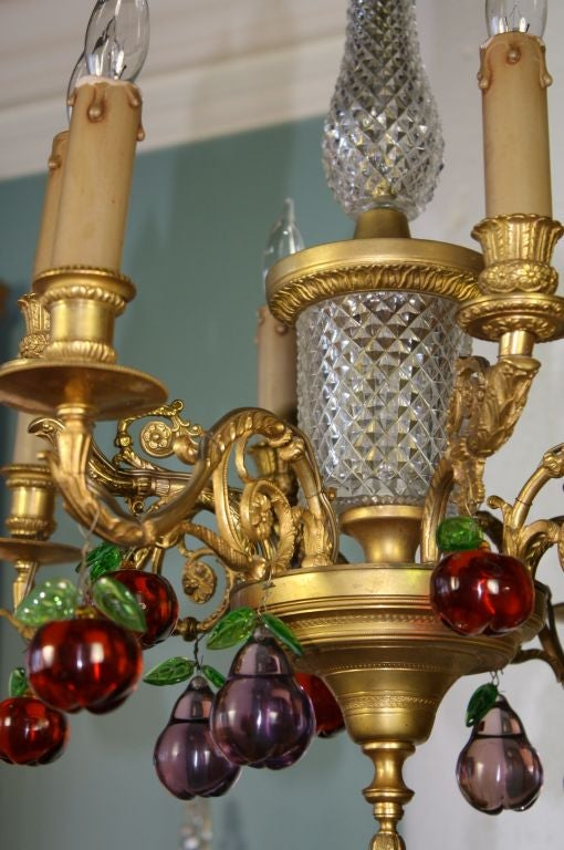 19th Century French Gilt Bronze and Crystal Chandelier with Colored Fruit For Sale