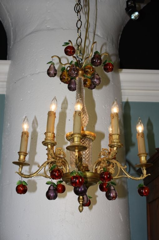 French Gilt Bronze and Crystal Chandelier with Colored Fruit For Sale 1