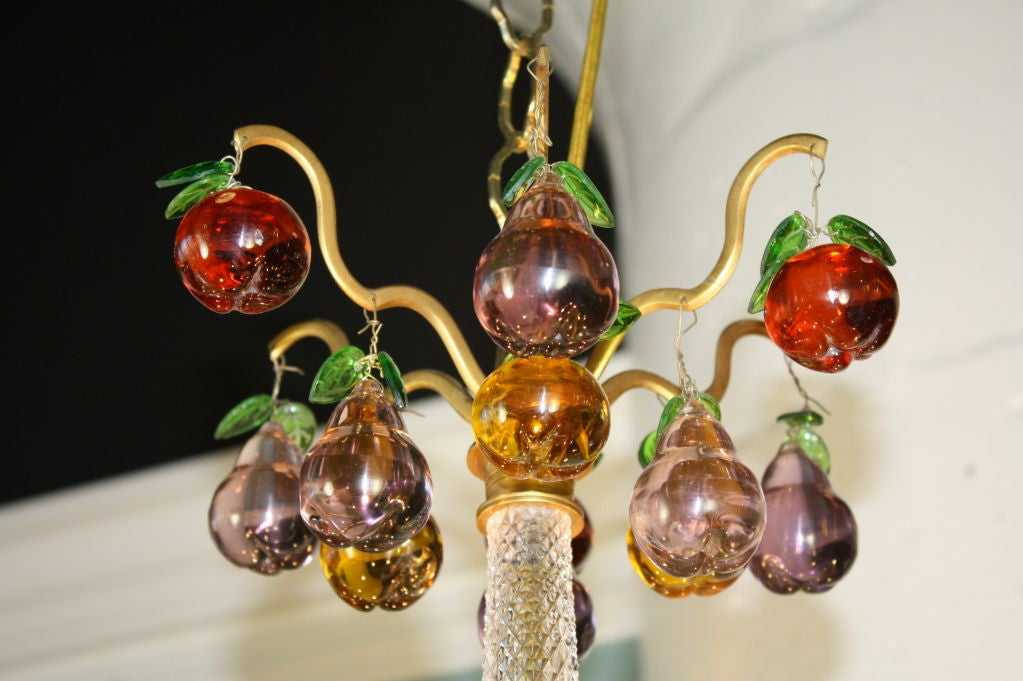 French Gilt Bronze and Crystal Chandelier with Colored Fruit In Good Condition For Sale In Pembroke, MA