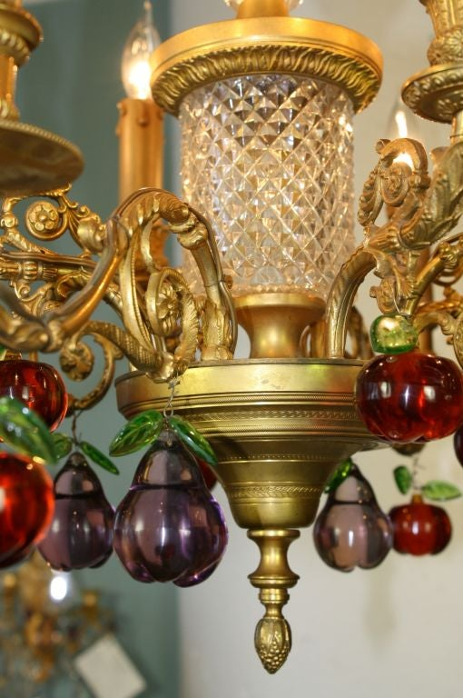 Cut Glass French Gilt Bronze and Crystal Chandelier with Colored Fruit For Sale