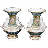 Pair of Paris Porcelain Figural Urns