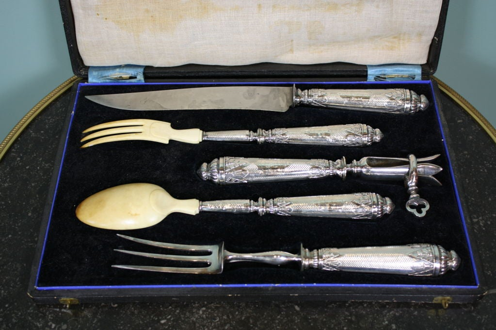Napoleon III Antique French .950 Silver 5-Piece Carving Service with Gigot in Box For Sale
