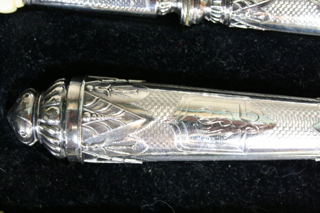 Antique French .950 Silver 5-Piece Carving Service with Gigot in Box For Sale 2