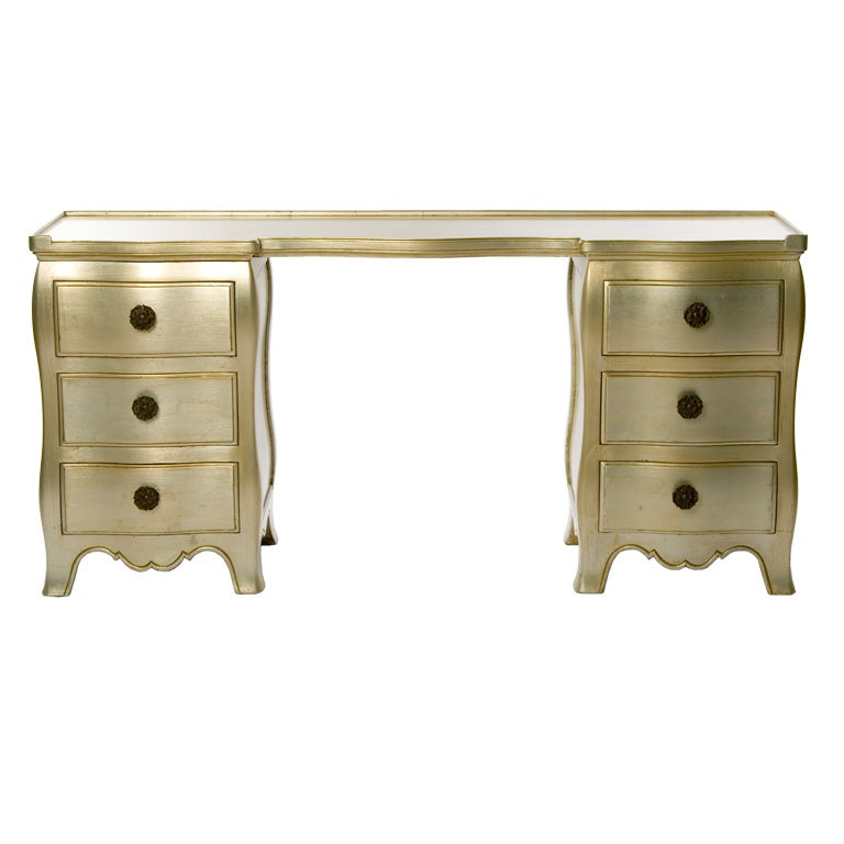 Widdicomb champagne silver leaf vanity table at 1stdibs for Silver vanity table