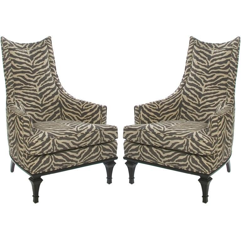 High Back Zebra Chair at 1stdibs