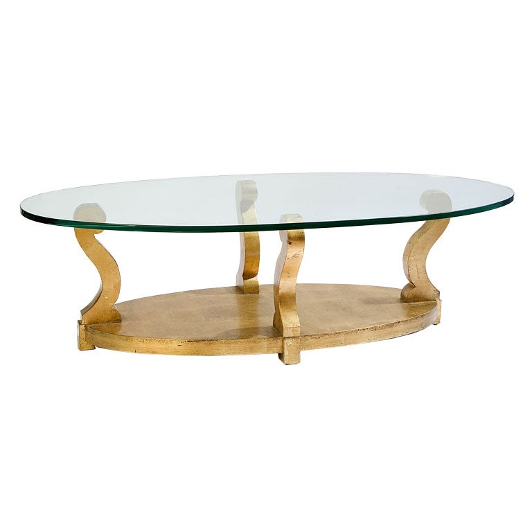 Sale Oval Coffee Table With Four Scroll Base At 1stdibs