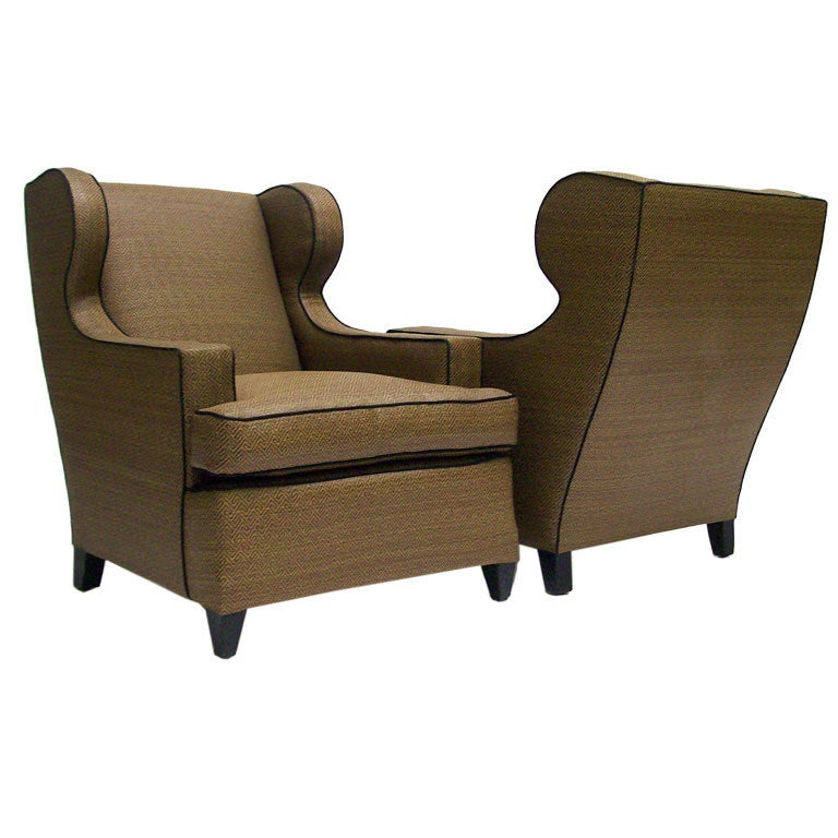 Pair Of Raffia Upholstered Club Chairs At 1stdibs