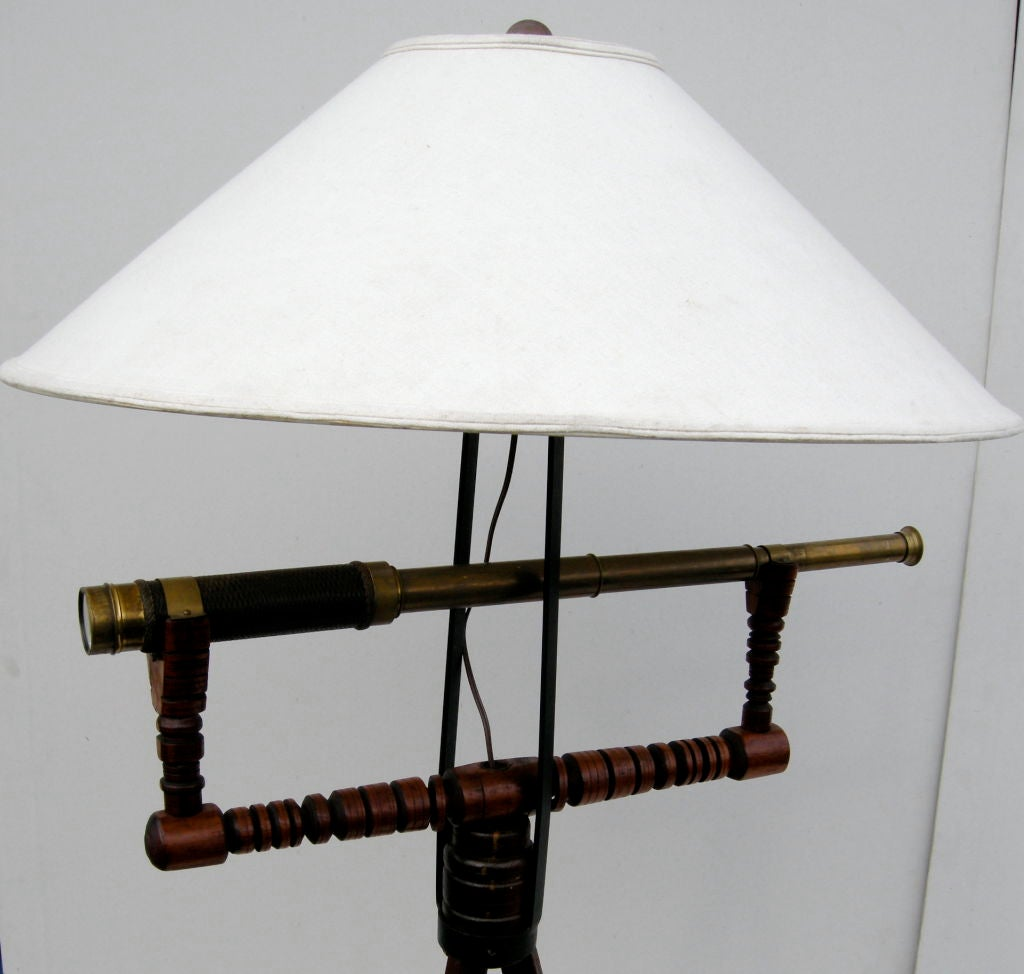 unusual telescope floor lamp at 1stdibs