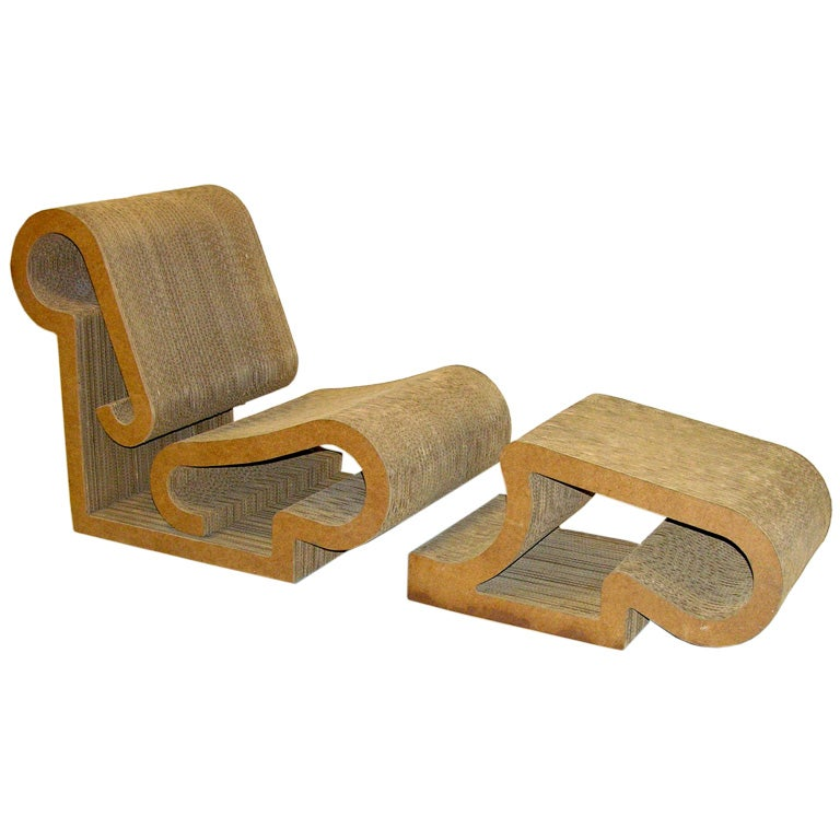 frank gehry easy edges lounge chair and ottoman at 1stdibs