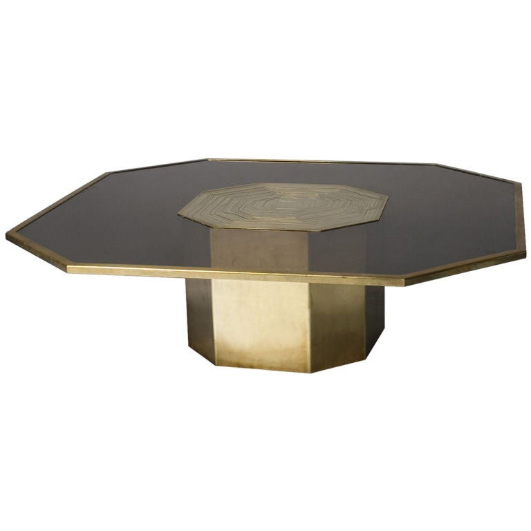 Hexagonal etched brass and smoked glass coffee table at for Hexagon coffee table glass