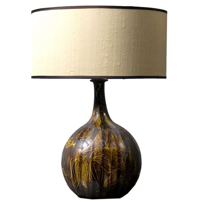 Ceramic table lamp by Roger Capron 1