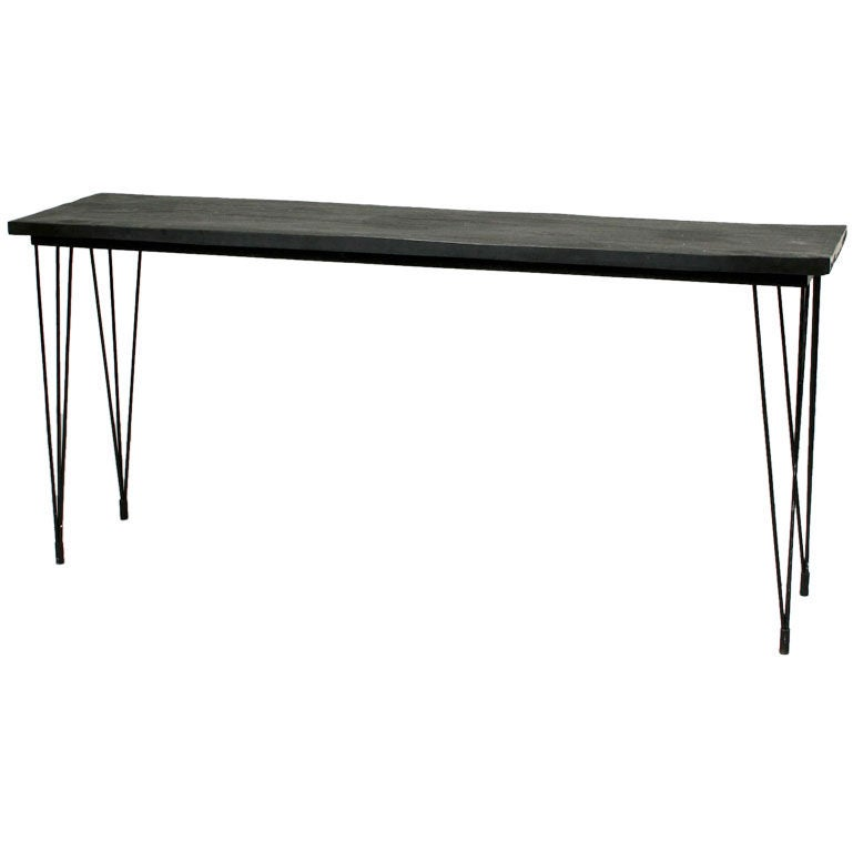 Black painted metal sofa table at 1stdibs for 65 sofa table