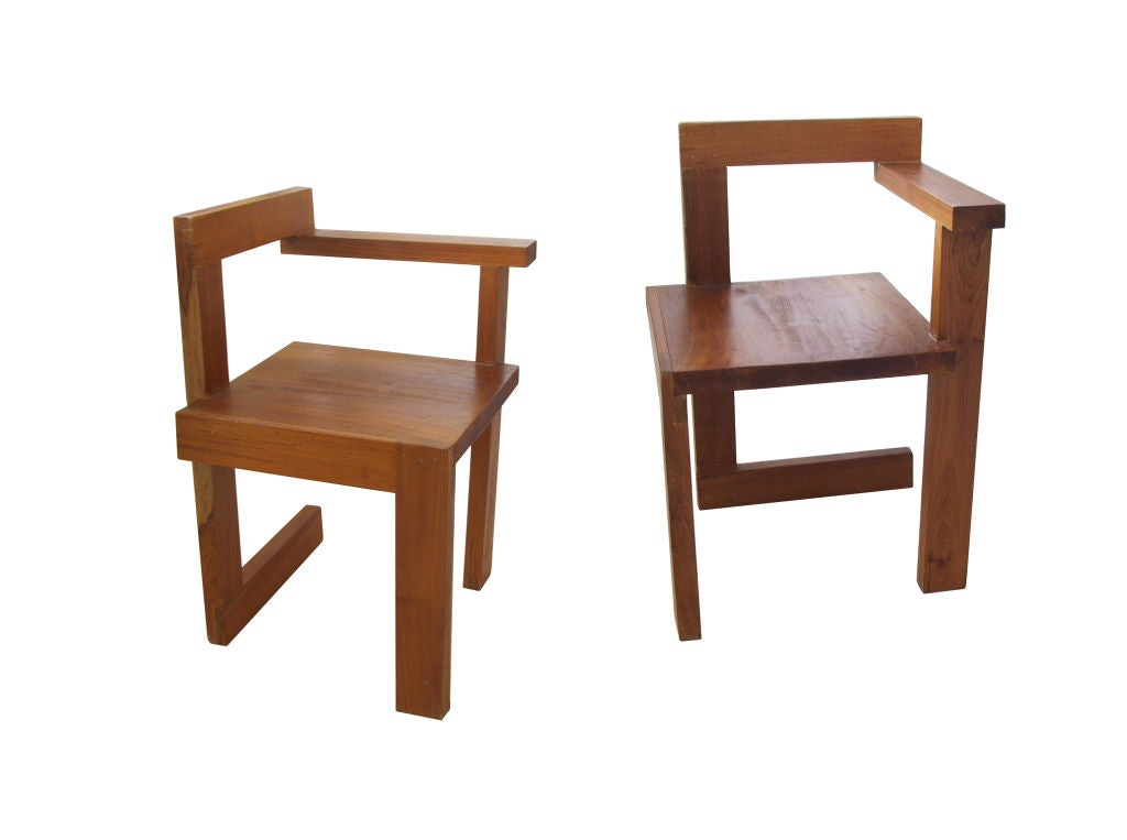Pair Of Steltman Chairs By Gerrit Rietveld At 1stdibs