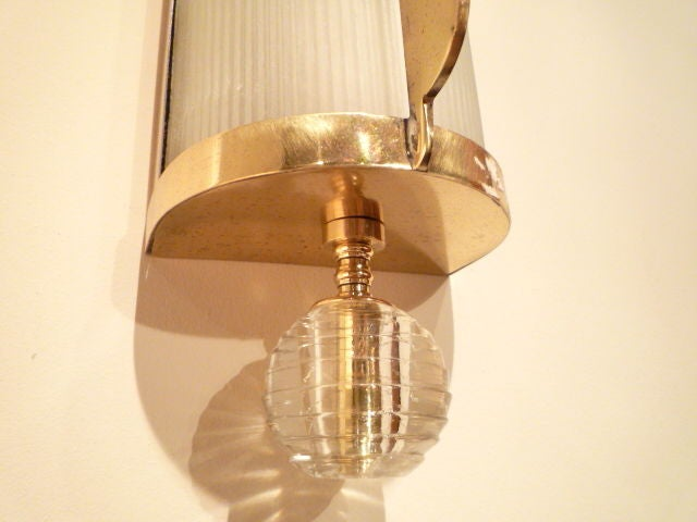 Brass Copper Wall Lights : Pair of Copper, Brass and Frosted Glass Wall Lights at 1stdibs