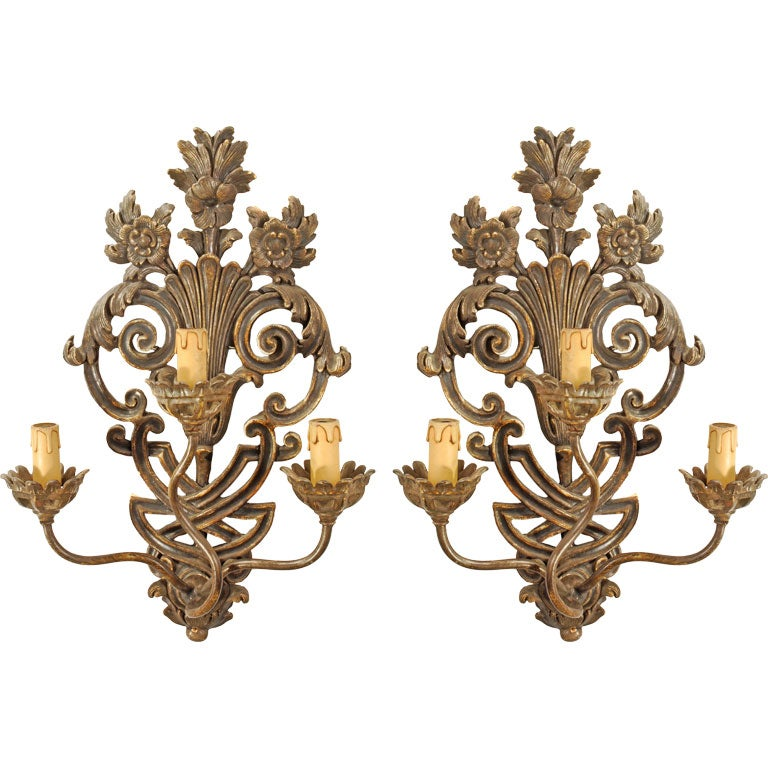 Pair of Italian Painted Wall Sconces at 1stdibs