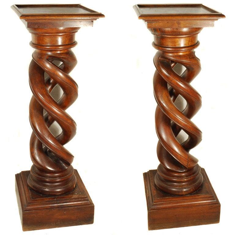 Twist Wood Columns : Graduated pair french walnut open barley twist carved