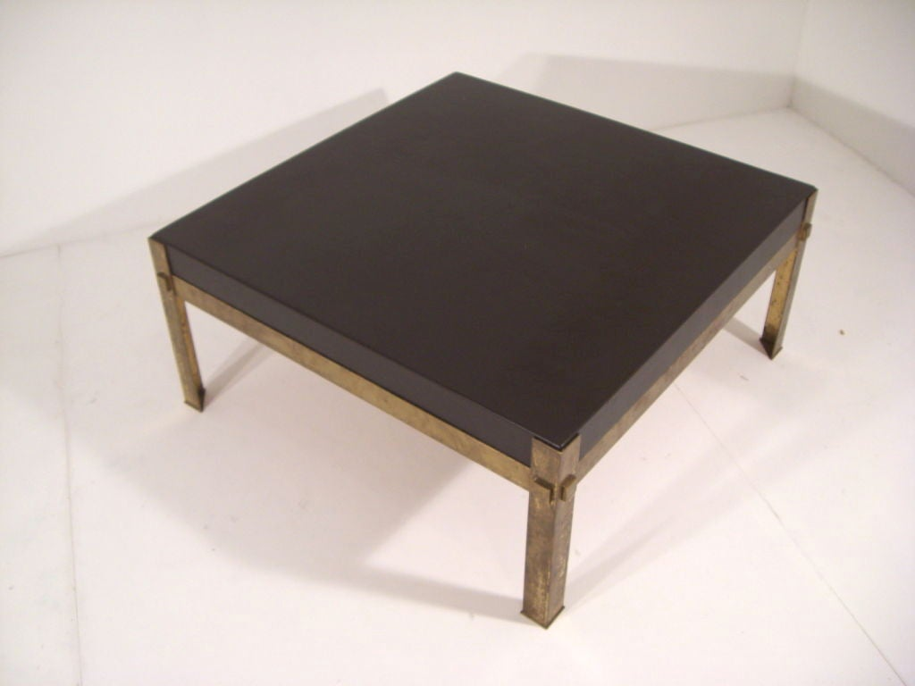 Dark Chocolate Leather And Gilt Metal Coffee Table At 1stdibs