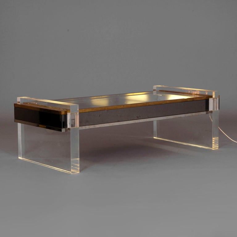 Chrome And Luciate Illuminated Coffee Table C1975 At 1stdibs