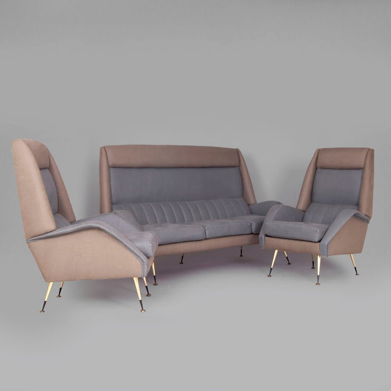 Unusual Sofas For Sale: Unusual High Back Suite With Sofa And Two Armchairs For