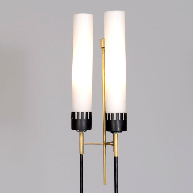 3 shade steel and glass floor lamp at 1stdibs. Black Bedroom Furniture Sets. Home Design Ideas