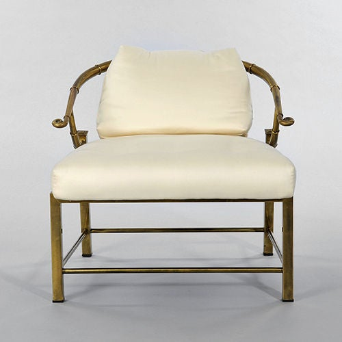 "Pair of Brass ""Faux Bamboo"" Chairs By Mastercraft image 3"