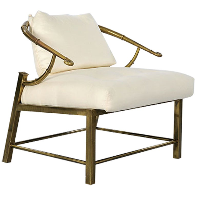 "Pair of Brass ""Faux Bamboo"" Chairs By Mastercraft image 2"