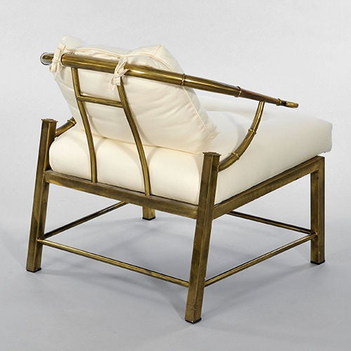 "Pair of Brass ""Faux Bamboo"" Chairs By Mastercraft image 4"